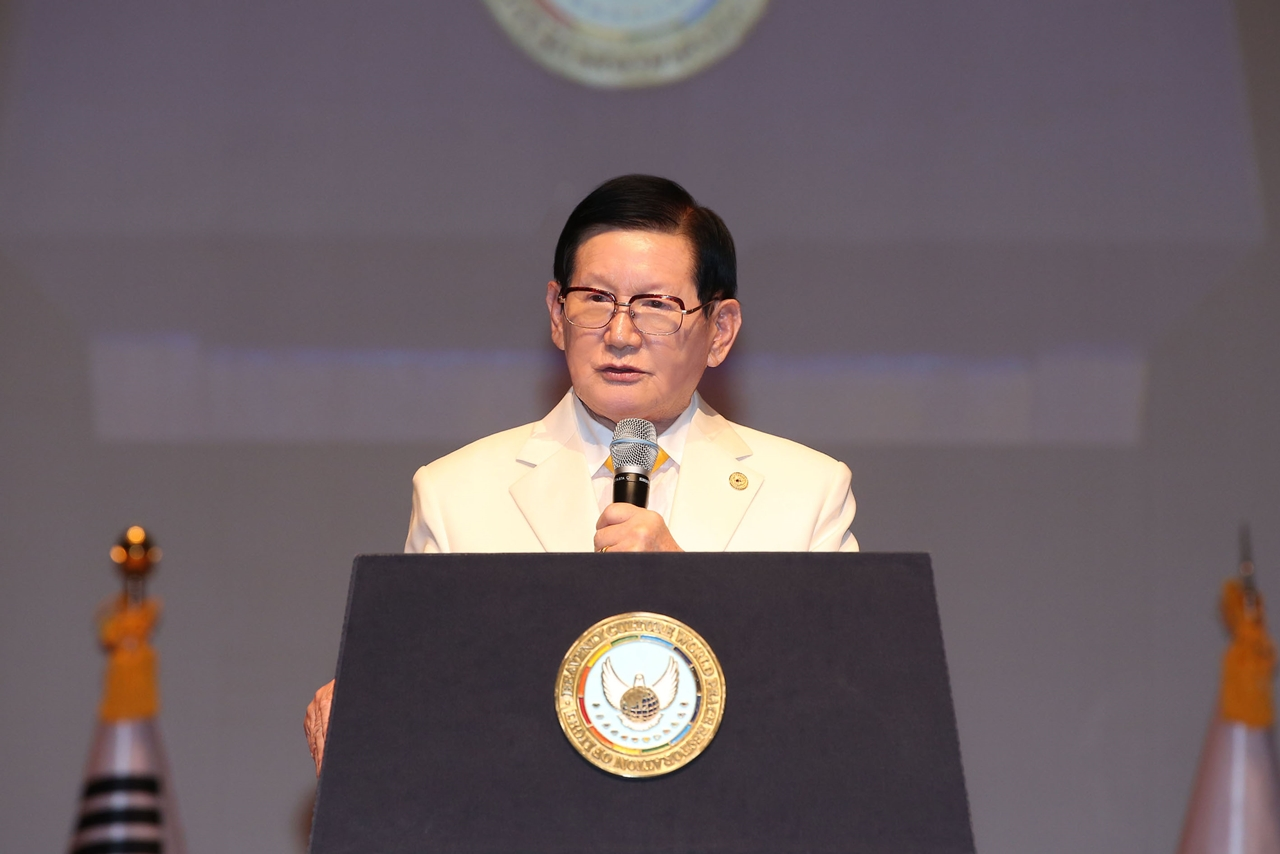 Chairman Lee of HWPL is proclaiming the Declaration of Peace and Cessation of War