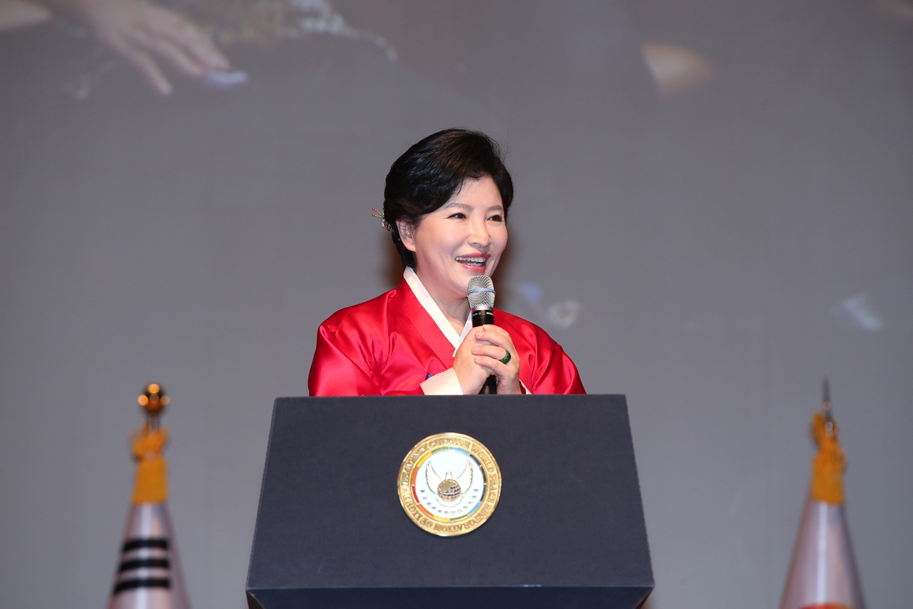 Chairwoman Nam Hee Kim is giving a keynote speech at the Proclamation Ceremony of the Declaration of Peace and Cessation of War