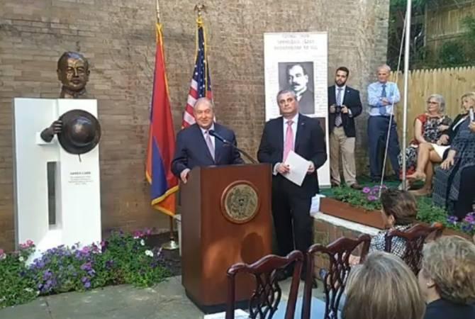 Photo of Արմեն Սարգսյանը Վաշինգտոնում ներկա է գտնվել ԱՄՆ-ում Հայաստանի առաջին դեսպան Արմեն Գարոյի կիսանդրիի բացմանը