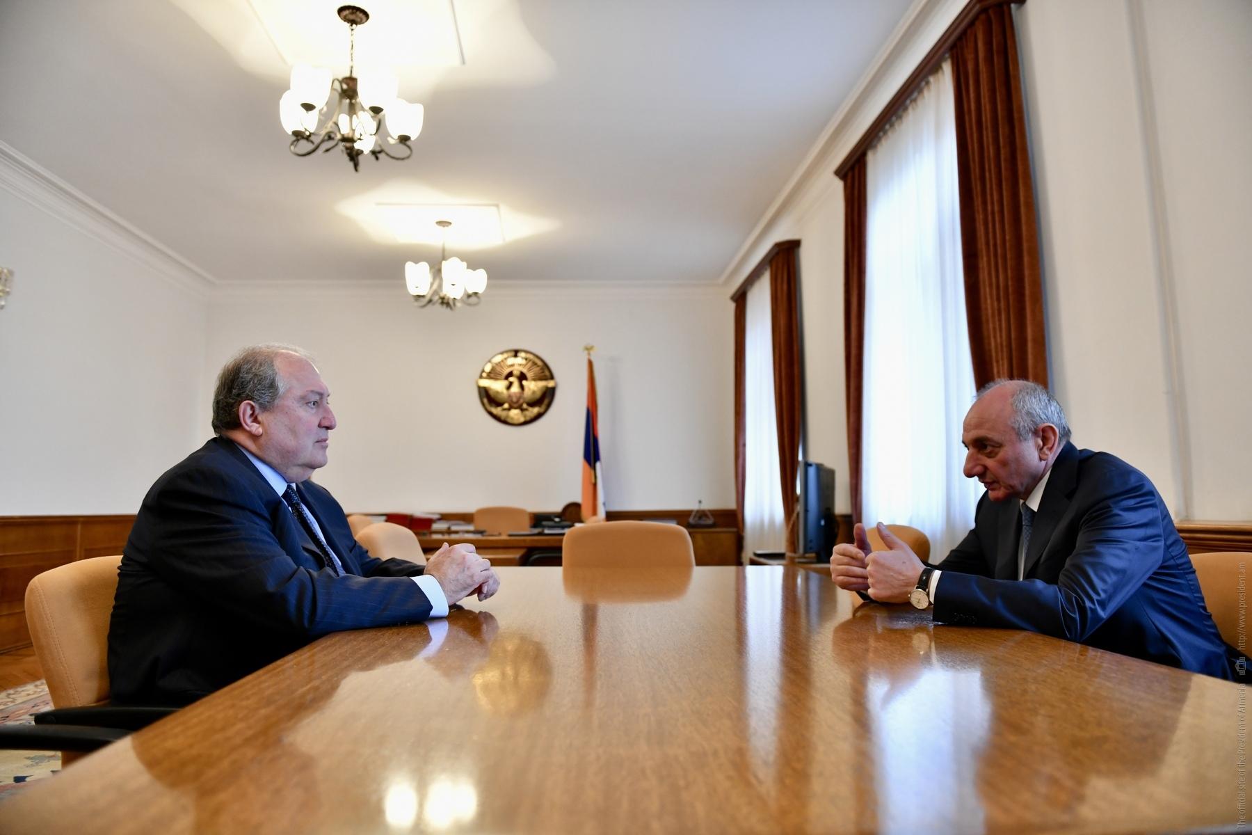 Photo of Նախագահ Արմեն Սարգսյանը հանդիպել է Արցախի նախագահ Բակո Սահակյանի հետ