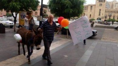 Photo of Гражданин с ослом, проводивший акцию  возле здания правительства, был доставлен в полицейский участок