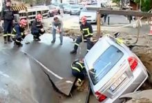 Photo of Թբիլիսիում փլուզվել է ավտոճանապարհը. 3 մեքենա ընկել է փոսը. aliq.ge