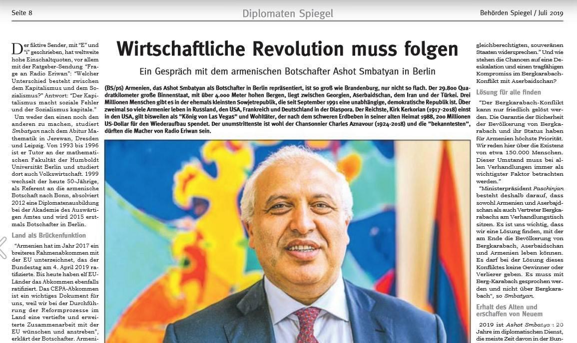 Պետք է խոսել Լեռնային Ղարաբաղի հետ, ոչ թե Լեռնային Ղարաբաղի մասին. ԳԴՀ-ում ՀՀ դեսպանի հարցազրույցը Behörden Spiegel-ին