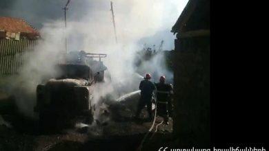 Photo of Բեռնատարն ամբողջությամբ այրվել է