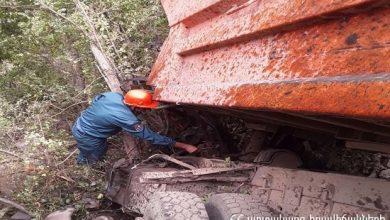 Photo of Սյունիքի մարզում՝ «Սատանի կամուրջ» կոչվող հատվածում, «Կամազ» մակնիշի ավտոմեքենան ընկել է ձորը