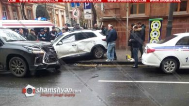 Photo of Ավտովթար Երևանում. բախվել են Lexus-ն ու KIA-ն. KIA-ն մասամբ հայտնվել է մայթին