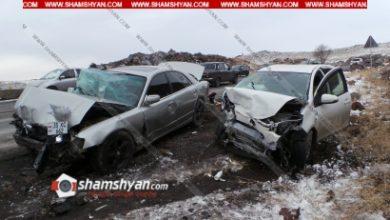 Photo of Խոշոր ավտովթար Արագածոտնի մարզում. բախվել են Volkswagen Passat, Mazda և Toyota Aqua մեքենաները. կա 4 վիրավոր