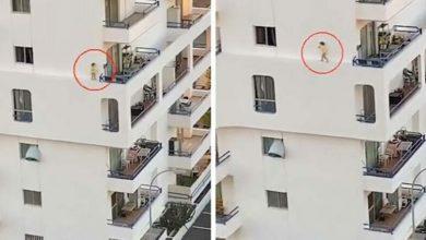 Photo of Վտանգավոր զբոսանք. ինչպես է փոքրիկը վազվզում բարձրահարկ շենքի կողային ելուստի վրայով