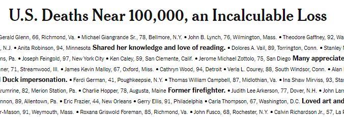 Photo of Газета The New York Times разместила на первой полосе список жертв Covid-19