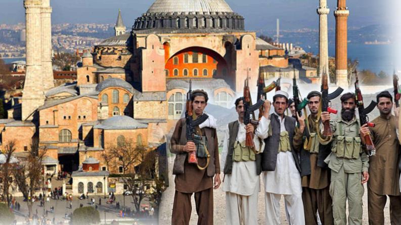 """Photo of """"Аллаху акбар"""": В соборе Святой Софии развернули флаг """"Талибана"""""""