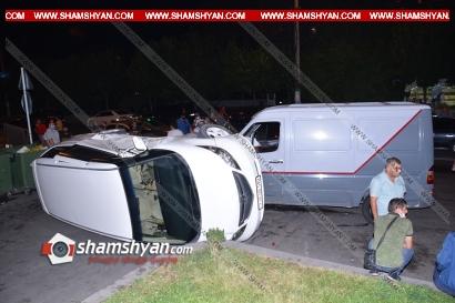 Photo of Խոշոր ավտովթար Երևանում. Ավան թաղամասի «Էվրիկա» խանութի դիմաց բախվել են Mercedes-ը, Nissan-ը, BMW-ն, Honda-ն. վերջինս կողաշրջվել է