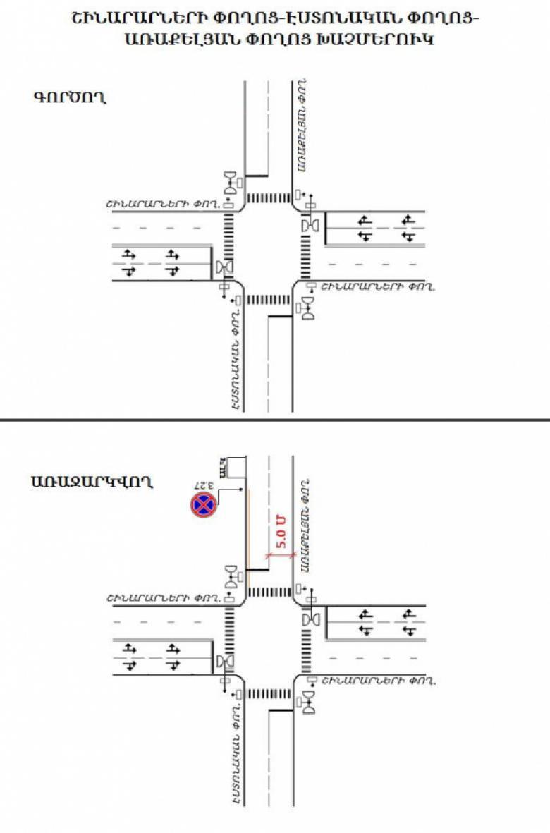 Photo of Երթևեկության կազմակերպման փոփոխություն Երևան քաղաքի Շինարարների փողոց-Էստոնական փողոց-Առաքելյան փողոց խաչմերուկում