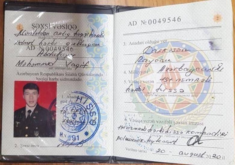 Photo of ՊԲ տեսանյութում առկա ադրբեջանցի զինծառայողների փաստաթղթերի լուսապատճենները. Արցախի ՏՇ