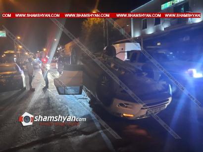 Photo of Խոշոր ավտովթար Երևանում. Volkswagen-ը բախվել է կայանված Mercedes-ին և գլխիվայր շրջվելով՝ հայտնվել ճանապարհի մեջտեղում