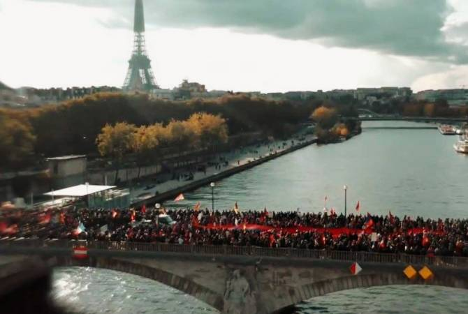 Photo of Փարիզի Սենա գետի կամուրջներից մեկը ողողվել է հայկական եռագույններով
