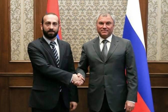 Photo of Мирзоян и Володин подчеркнули важность трехстороннего заявление о прекращении боевых действий в НК