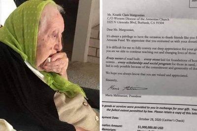 Photo of 103-ամյա Քնարիկ Մարկոսյանը 1 միլիոն դոլար է նվիրել «Հայաստան» համահայկական հիմնադրամին. Լիբանանի հայ համայնք