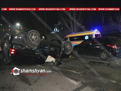Photo of Խոշոր ավտովթար Երևանում․ Nissan-ը բախվել է Lexus-ին. վերջինս գլխիվայր շրջվել է․ 3 վիրավորներից 2-ը երեխաներ են