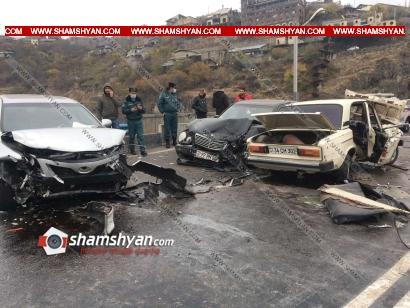Photo of Խոշոր ու շղթայական ավտովթար Երևանում․ Բելաջիոյի կամրջի վրա բախվել են Mercedes-ը, Toyota Camry-ն, Nissan-ը, BYD-ը, VAZ 2106-ը