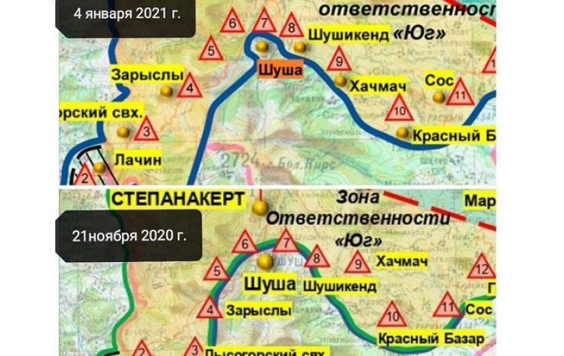 Photo of На новой карте, опубликованной Минобороны РФ, некоторые прилегающие к Шуши территории переходят под контроль Арцаха