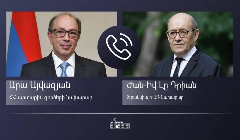Photo of Телефонный разговор министра иностранных дел Ара Айвазяна с министром иностранных дел Франции Жан-Ивом Ле Дрианом
