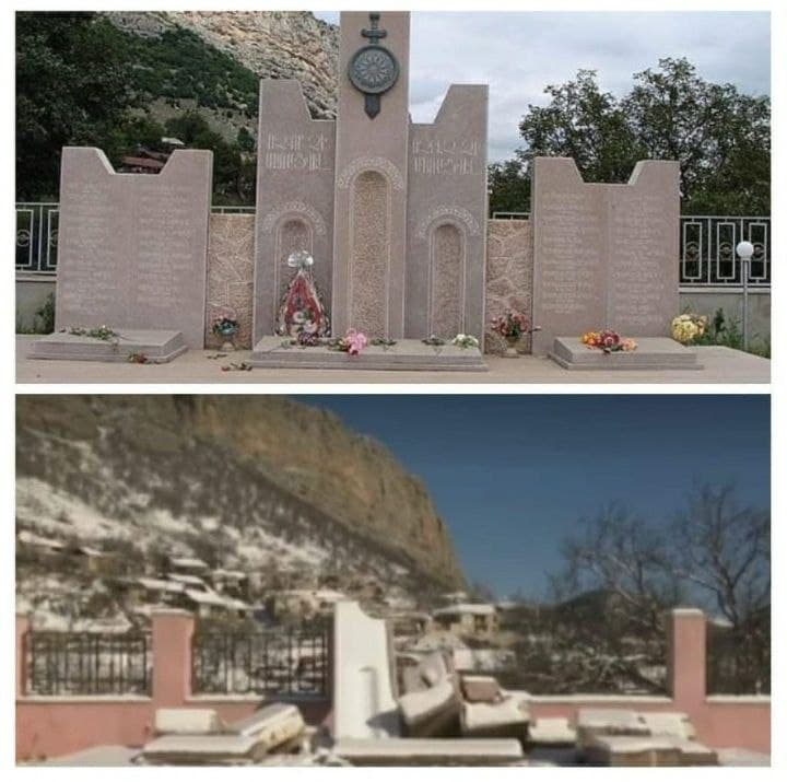 Photo of Ադրբեջանցիները շարունակում են պղծել հուշարձանները