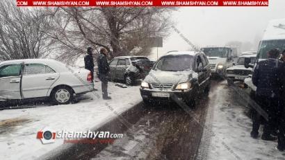 Photo of Ճանապարհի մերկասառույցի պատճառով 7 ավտոմեքենայի մասնակցությամբ շղթայական ավտովթար է տեղի ունեցել Կոտայքի մարզում