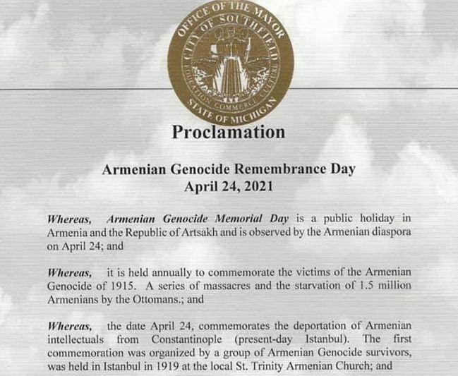 Photo of ԱՄՆ Սաութֆիլդ քաղաքը ապրիլի 24-ը հռչակել է Հայոց ցեղասպանության հիշատակի օր