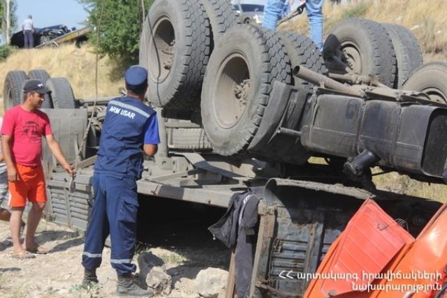 Photo of Գորիս-Կապան ճանապարհին բեռնատարը գլորվել է ձորը